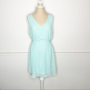 Francesca's Teal and Gold Sleeveless V Neck Dress